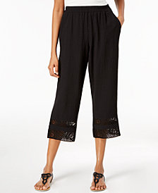 JM Collection Cropped Crochet-Trim Pants, Created for Macy's