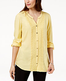 JM Collection Petite Embellished Crochet-Front Shirt, Created for Macy's