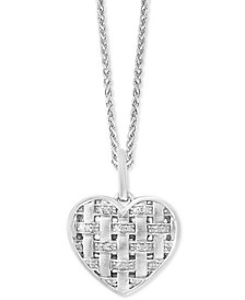 "Balissima by EFFY® Diamond Woven Heart 18"" Pendant Necklace (1/6 ct. t.w.) in Sterling Silver"
