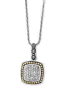 "Balissima by EFFY® Diamond Cluster 18"" Pendant Necklace (1/5 ct. t.w.) in Sterling Silver & 18k Gold"