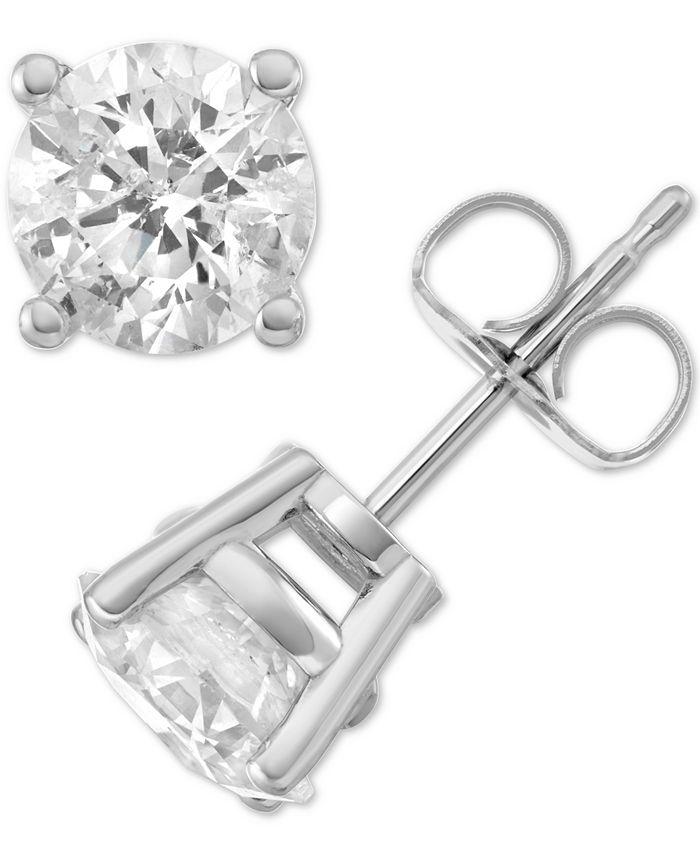 Macy's Star Signature Diamond - Diamond Stud Earrings (3 ct. t.w.) in 14k Gold or White Gold