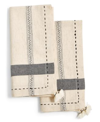 2-Pc. Pick-Stitched Napkin Set with Tassels, Created for Macy's