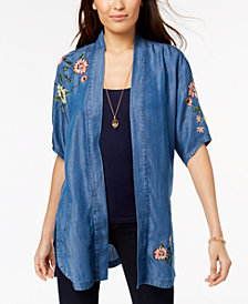 Style & Co Petite Embroidered Denim Kimono, Created for Macy's