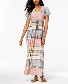 Printed Drawstring Maxi Dress, Created for Macy's