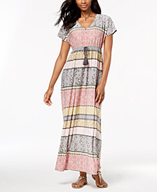 Style & Co Petite Mixed-Print Tassel-Waist Maxi Dress, Created for Macy's