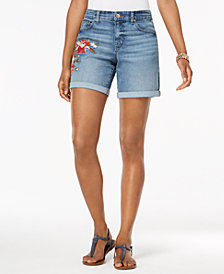 Style & Co Petite Embroidered Denim Shorts, Created for Macy's