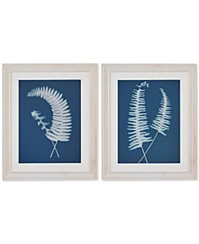 Harbor House Embroidered Fern 2-Pc. Framed Wall Art Set