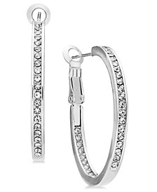Essentials Medium Silver Plated Crystal Inside Out Hoop Earrings
