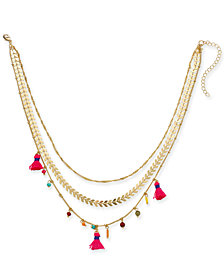 "I.N.C. Gold-Tone Multicolor Bead & Tassel 15"" Layered Necklace, Created for Macy's"