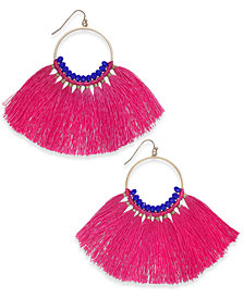I.N.C. Gold-Tone Colored Bead & Tassel Drop Earrings, Created for Macy's