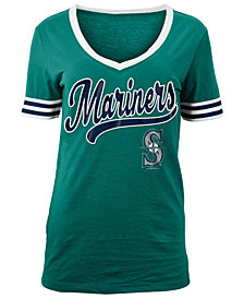 5th & Ocean Women's Seattle Mariners Retro V-Neck T-Shirt