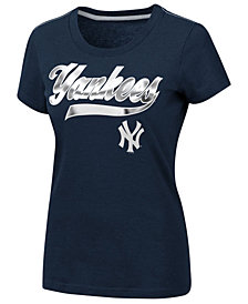 G-III Sports Women's New York Yankees Script Foil T-Shirt