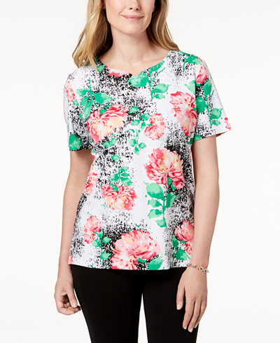 Alfred Dunner Printed Embellished T-Shirt
