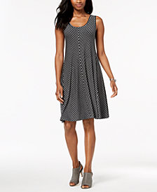 Style & Co Petite Striped A-Line Dress, Created for Macy's