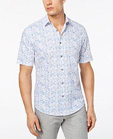 Alfani Men's Painted Herringbone Print Shirt, Created for Macy's