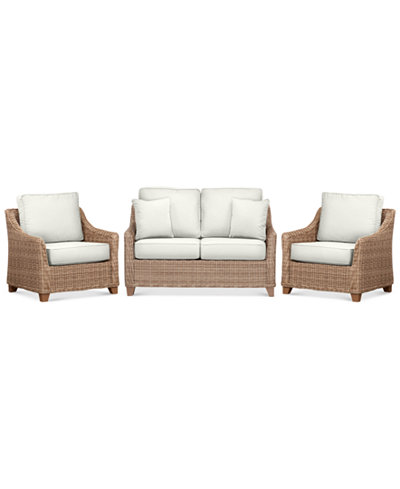Willough Outdoor 3-Pc. Set (1 Loveseat & 2 Club Chairs), Created for Macy's
