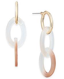 I.N.C. Gold-Tone Resin Stone Link Drop Earrings, Created for Macy's