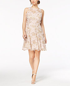 Taylor Fringe Floral-Embroidered Dress