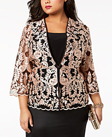 Alex Evenings Plus Size Embroidered Lace Jacket & Top