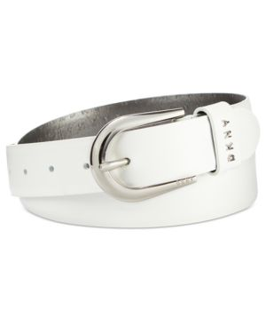 BELT WITH METAL LOGO LETTERS, CREATED FOR MACY'S