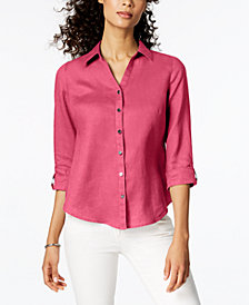 JM Collection Linen Roll-Tab Shirt, Created for Macy's