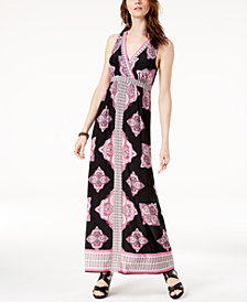 I.N.C. Printed Surplice-Neck Maxi Dress, Created for Macy's