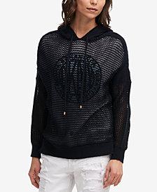 DKNY Open-Knit Cotton Hoodie