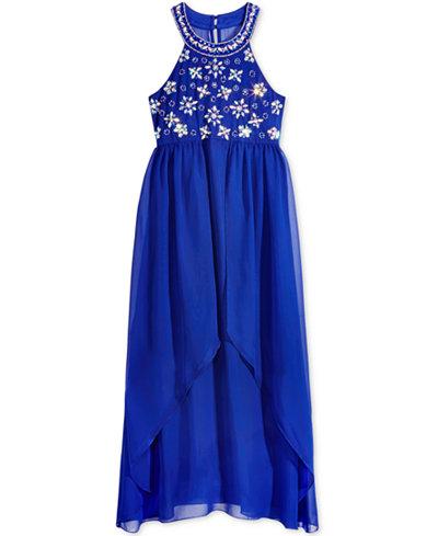 Crystall Doll Hand-Beaded Maxi Dress, Big Girls