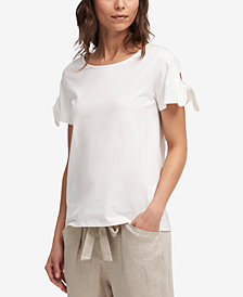 DKNY Crew-Neck Tie-Sleeve Top
