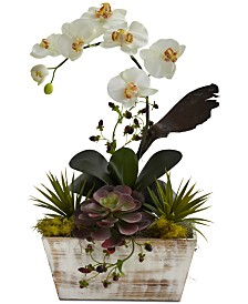 Nearly Natural Orchid & Artificial Succulent Garden with White-Washed Planter