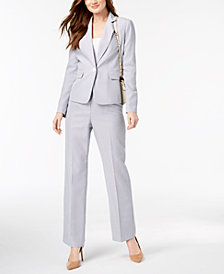 Le Suit Seersucker Pantsuit, Regular & Petite