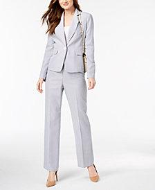 Le Suit Seersucker Pantsuit, Regular & Petite