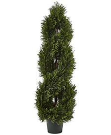 4' Double Pond Cypress UV-Resistant Indoor/Outdoor 1036-Leaf Spiral Topiary