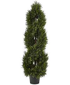 Nearly Natural 4' Double Pond Cypress UV-Resistant Indoor/Outdoor 1036-Leaf Spiral Topiary