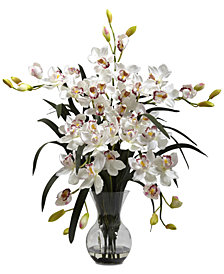 Nearly Natural Large Cymbidium Arrangement with Vase