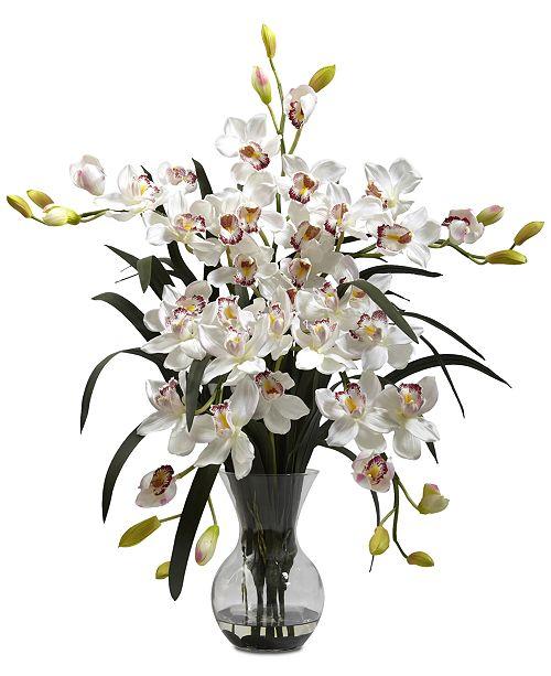 Nearly Natural Large Cymbidium Arrangement with Vase