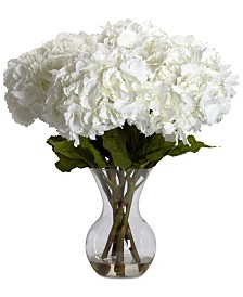 Nearly Natural Large Hydrangea Flower Arrangement with Vase