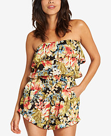 Billabong Juniors' Flower Power Strapless Ruffle Romper