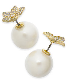 kate spade new york Gold-Tone Pavé Bloom & Imitation Pearl Front-and-Back Earrings