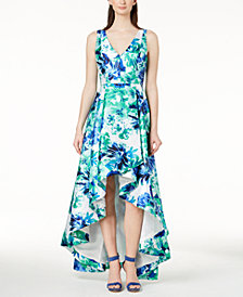 Calvin Klein Printed High-Low Gown