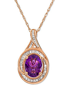 "Amethyst (1-5/8 ct. t.w.) & Diamond (1/2 ct. t.w.) 17"" Pendant Necklace in 14k Rose Gold"