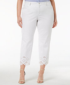 Charter Club Plus Size Eyelet-Trim Ankle Jeans, Created for Macy's