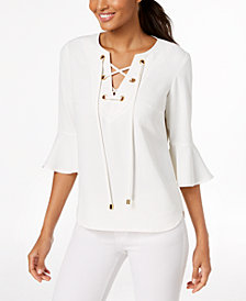 Trina Turk Lace-Up Bell-Sleeve Top