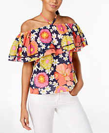 Trina Turk Cotton Off-The-Shoulder Flounce Top