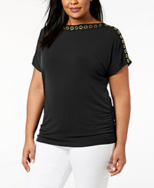 JM Collection Plus Size Grommet-Trim Top, Created for Macy's