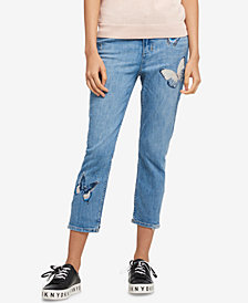 DKNY Embroidered Skinny Jeans