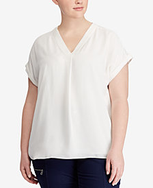 Lauren Ralph Lauren Plus Size Georgette V-Neck Top