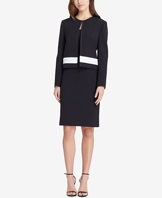 Tahari Asl Colorblocked Dress Suit Wear To Work Women Macy S