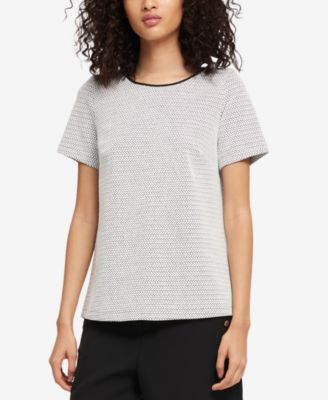 Jacquard Faux-Leather-Trim Top, Created for Macy's