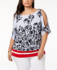 Tommy Hilfiger Plus Size Printed Split-Sleeve Top, Created for Macy's